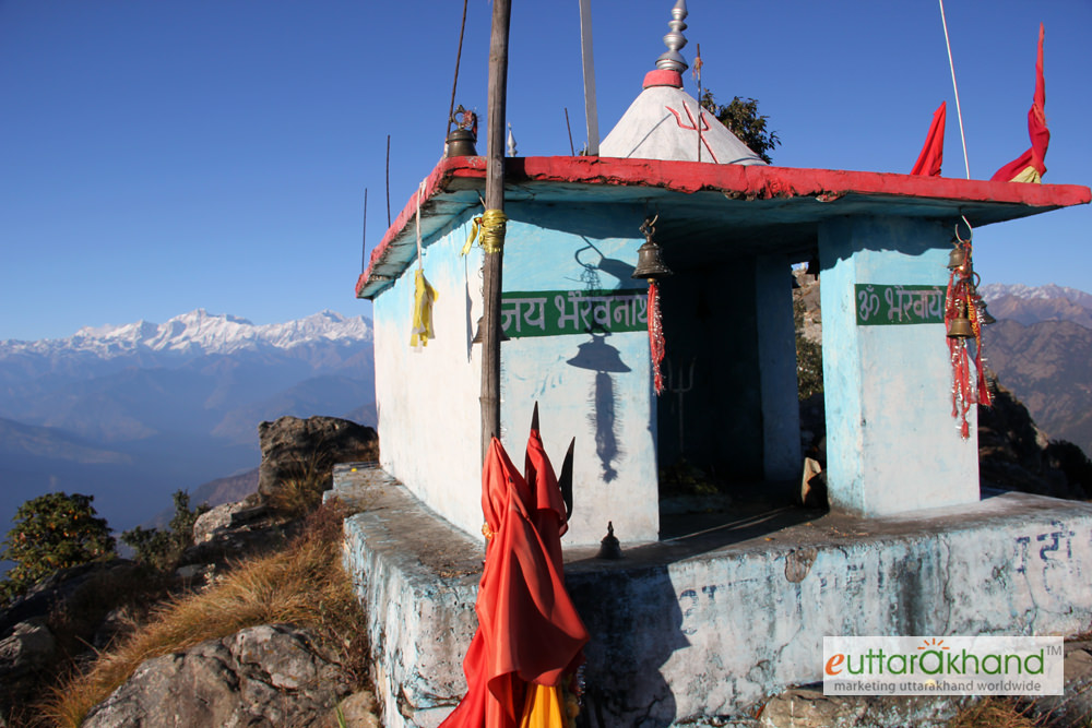 Bhairon temple with Himalayas on the background