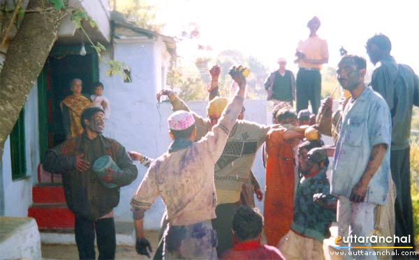 Villagers playing holi