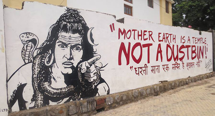 A very famous Grafitti by Waste Warriors in Dehradun. Source : facebook page of Waste Warriors