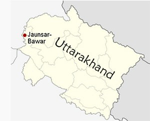 Location of Jaunsar-Bawar in Uttarakhand.