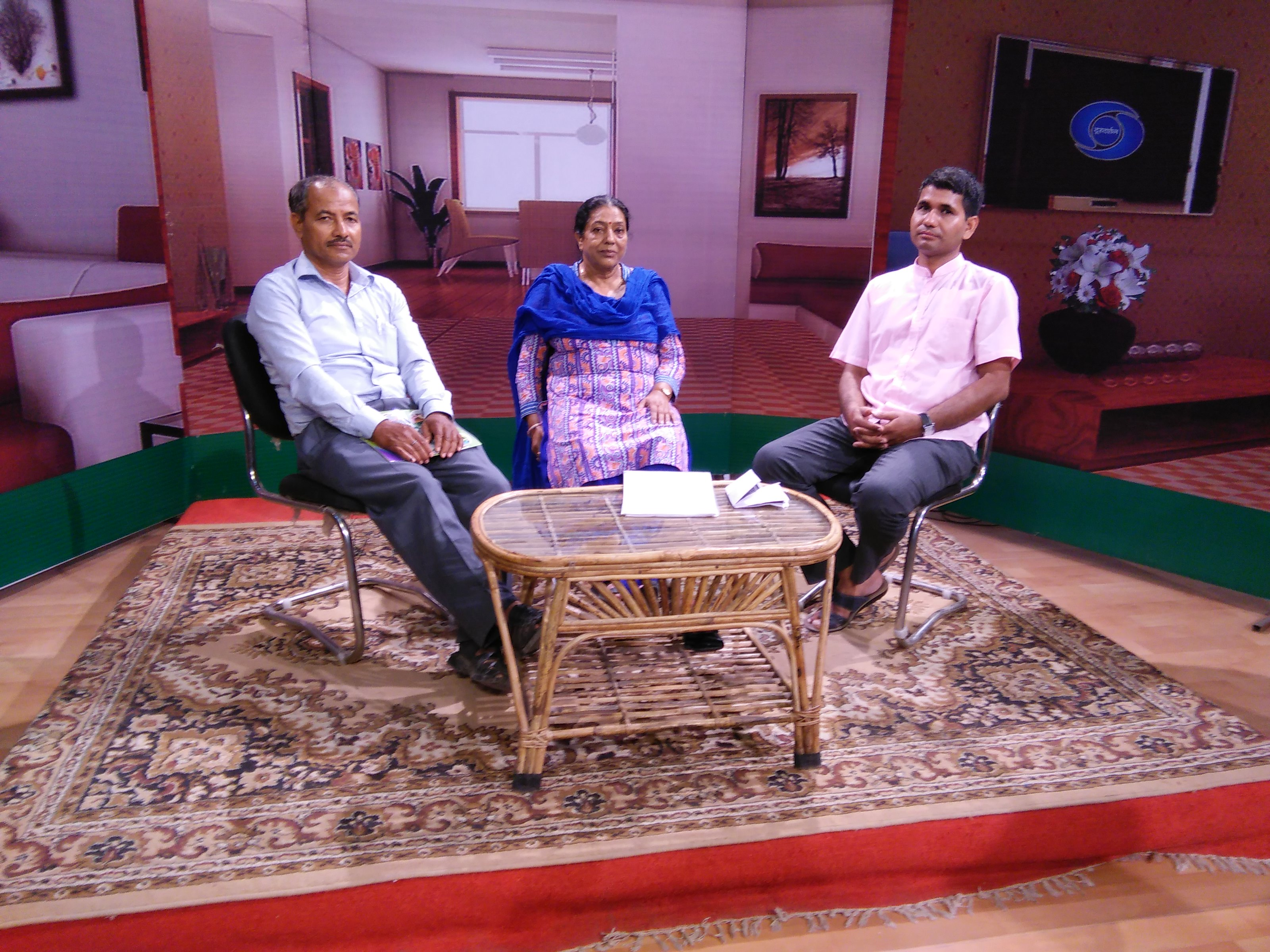 Praveen Kumar Bhatt in Doordarshan studio during a talk show.