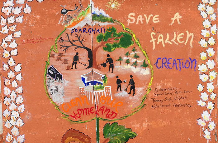 Wall painting by Donbosco School - Depicting Thalkedar forest fire. Showing what all issues Soar valley is facing during Bolti Deeware event.