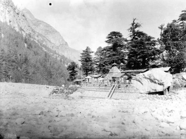 Temple looking down the valley,Gangotri,1883