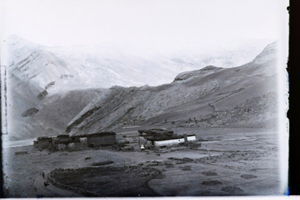 Trias section opposite Khar village Din River (Spiti) Part of Panorama. 1833